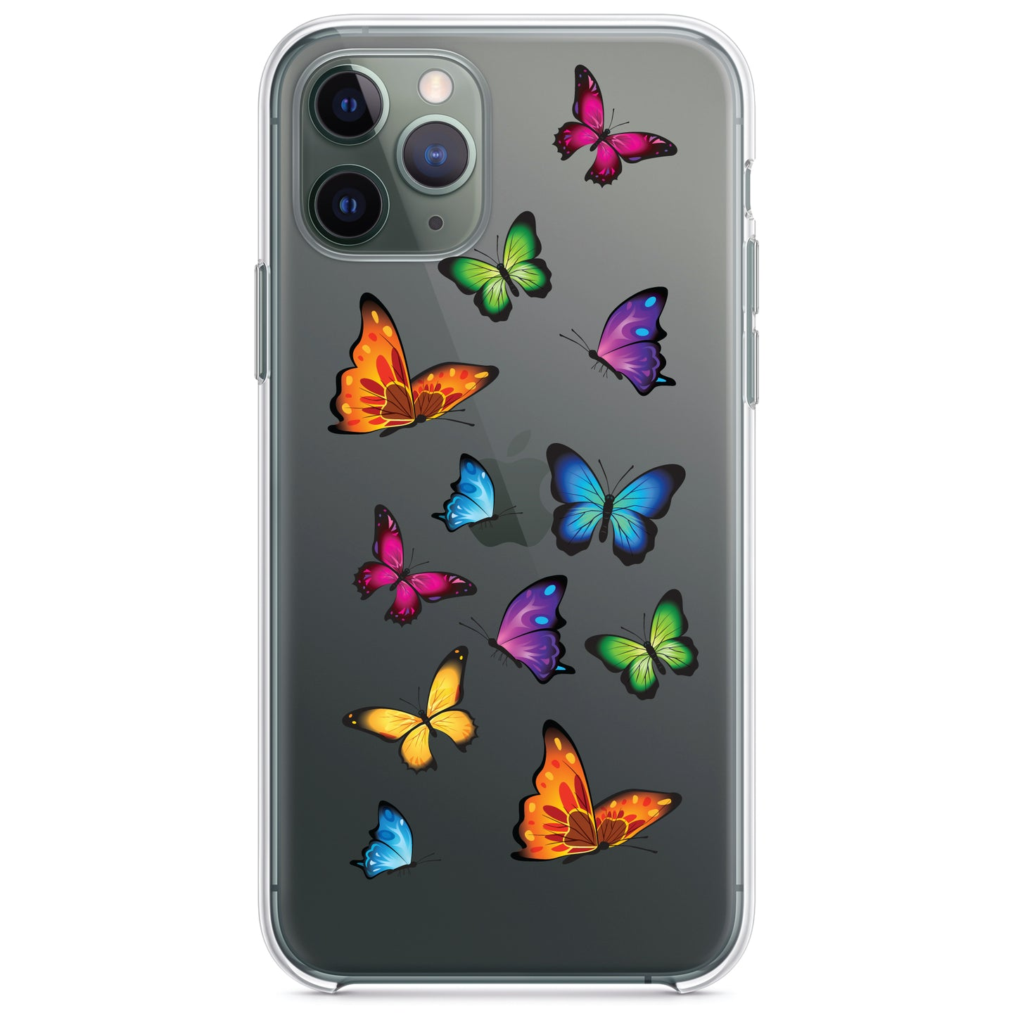 DistinctInk® Clear Shockproof Hybrid Case for Apple iPhone / Samsung Galaxy / Google Pixel - Rainbow Butterflies Butterfly