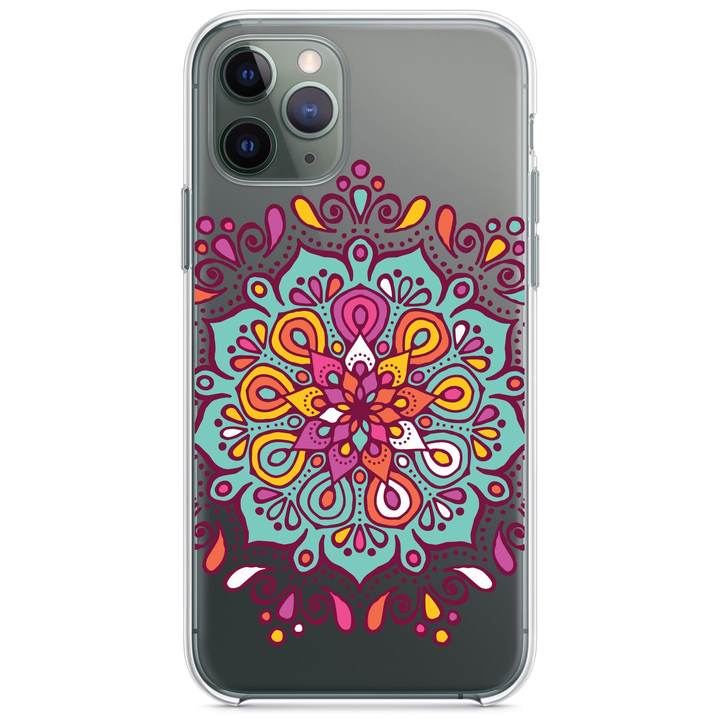 DistinctInk® Clear Shockproof Hybrid Case for Apple iPhone / Samsung Galaxy / Google Pixel - Jewel Tone Mandala Colorful