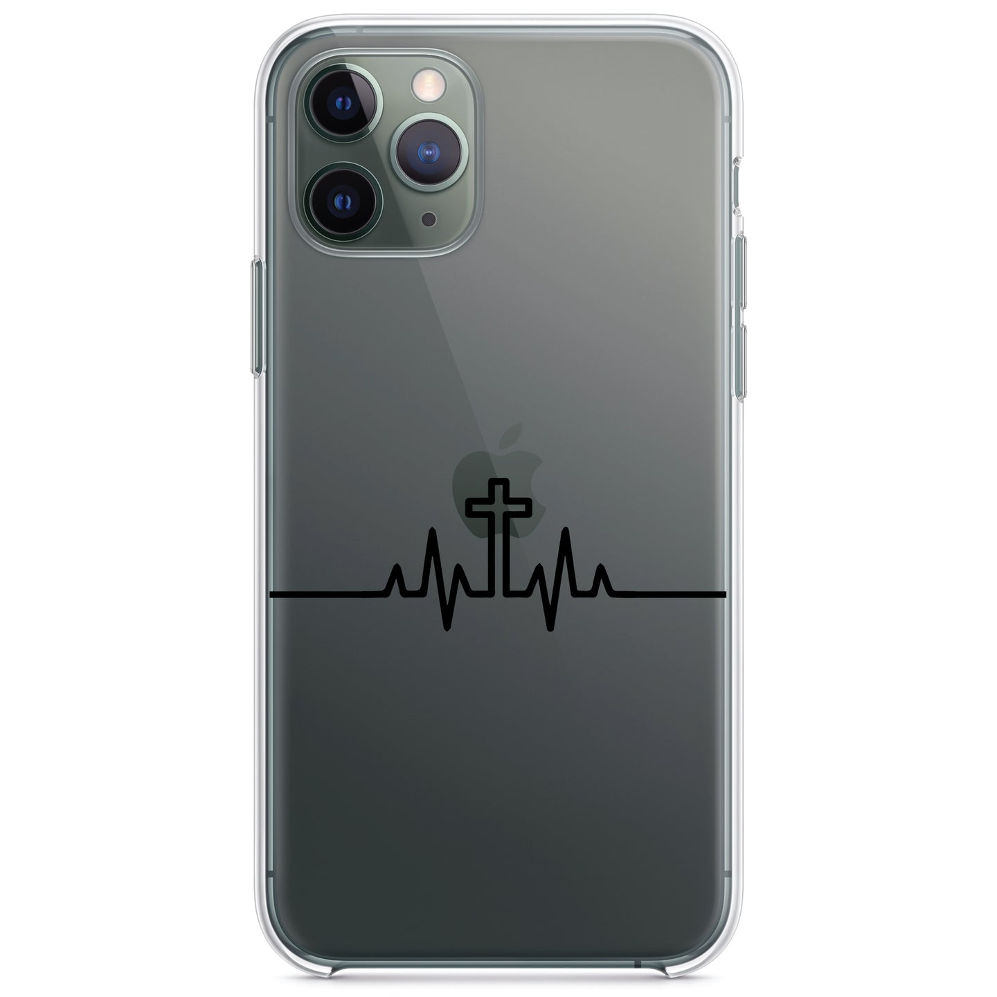 DistinctInk® Clear Shockproof Hybrid Case for Apple iPhone / Samsung Galaxy / Google Pixel - Heartbeat Cross Sinus Rhythm