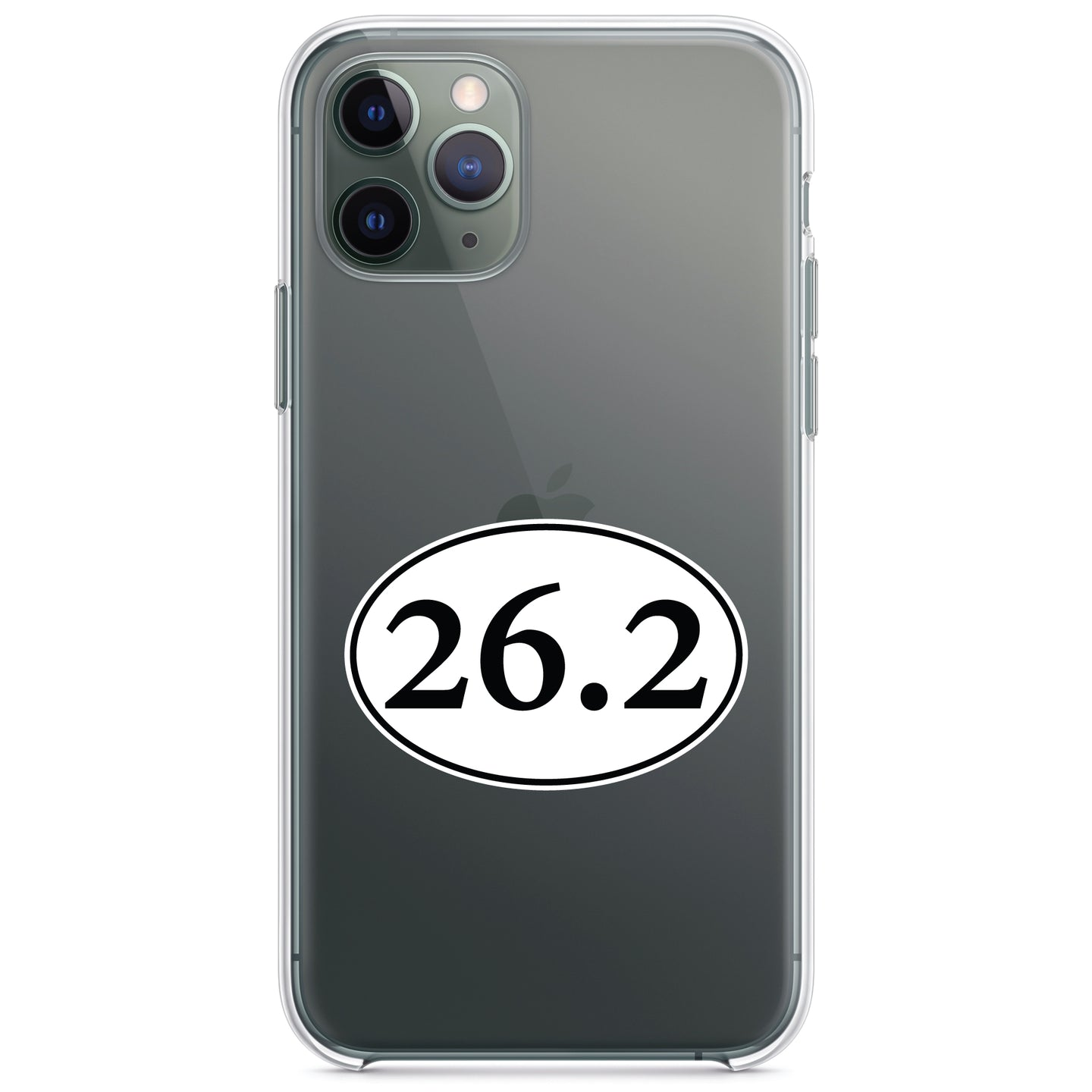 DistinctInk® Clear Shockproof Hybrid Case for Apple iPhone / Samsung Galaxy / Google Pixel - 26.2 - Marathon Sticker - Running