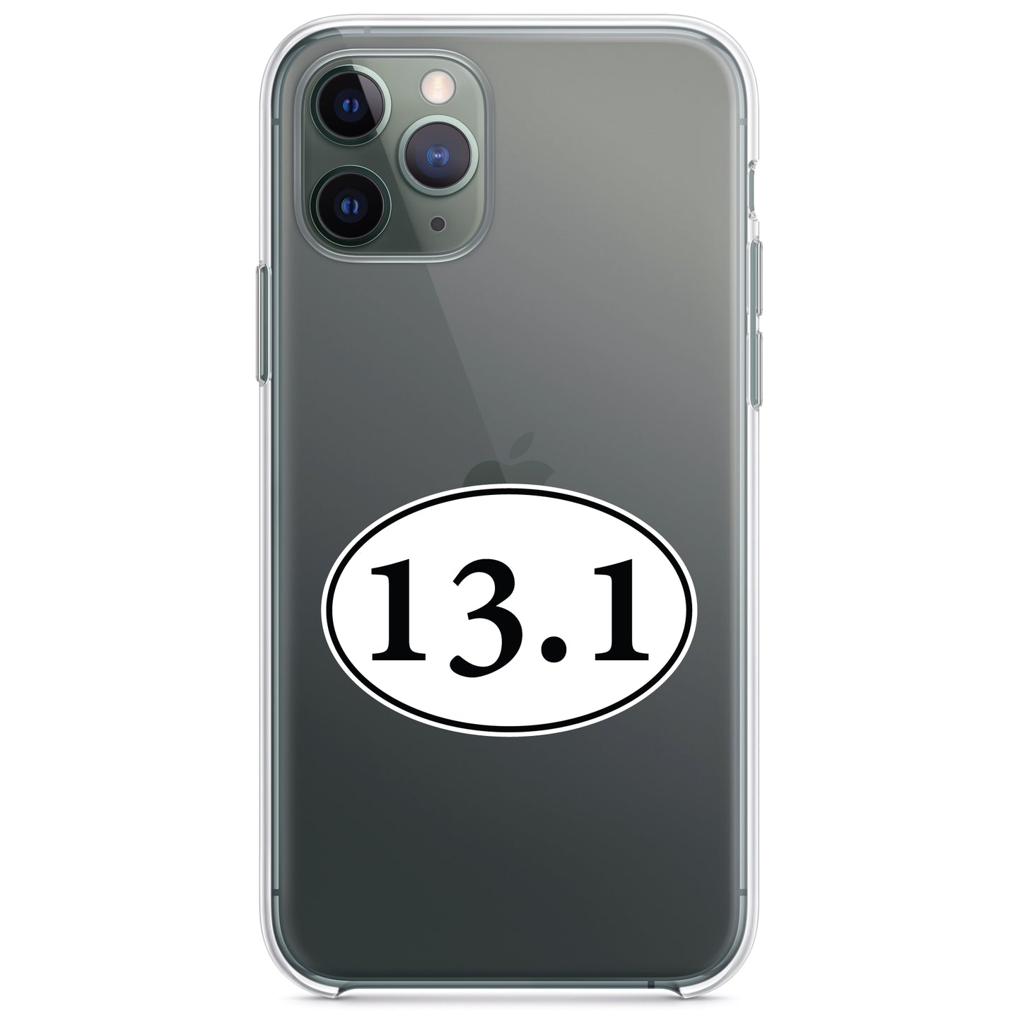 DistinctInk® Clear Shockproof Hybrid Case for Apple iPhone / Samsung Galaxy / Google Pixel - 13.1 - Half Marathon Sticker - Running