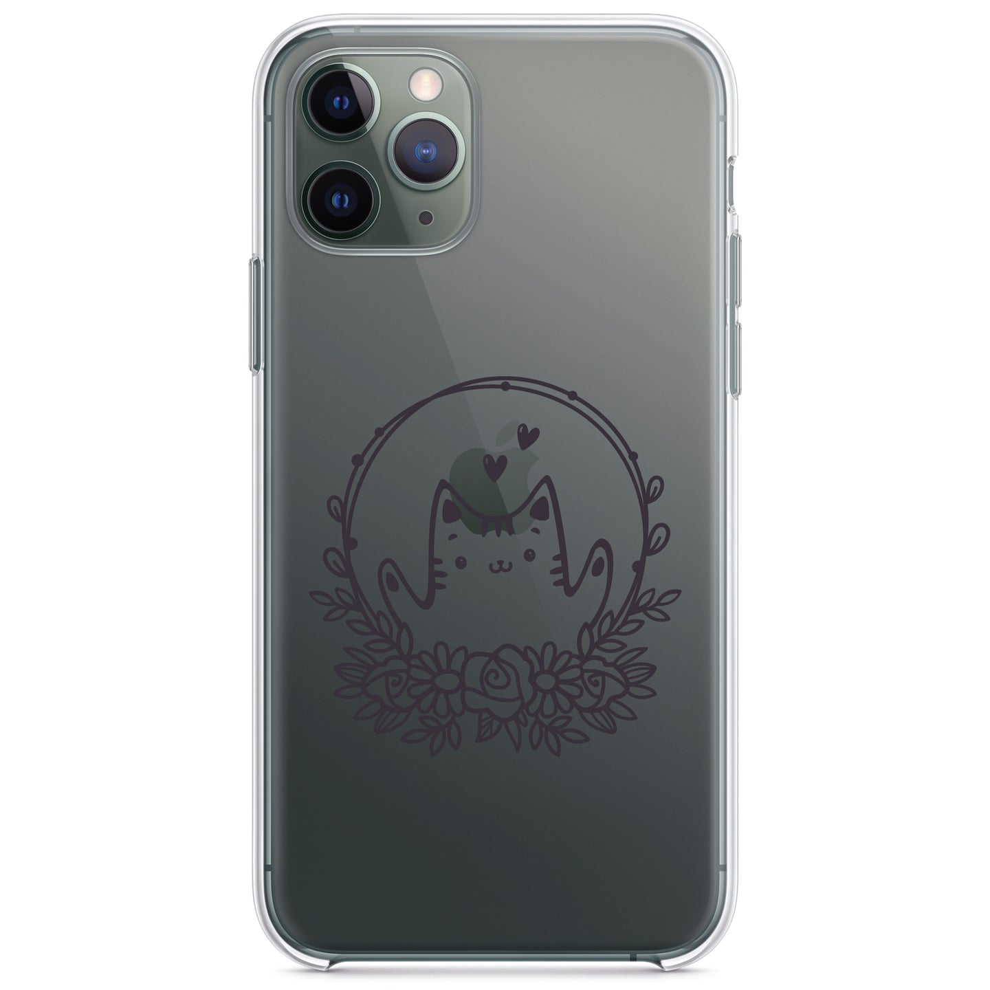 DistinctInk® Clear Shockproof Hybrid Case for Apple iPhone / Samsung Galaxy / Google Pixel - Valentine Cat - Wreath Hearts