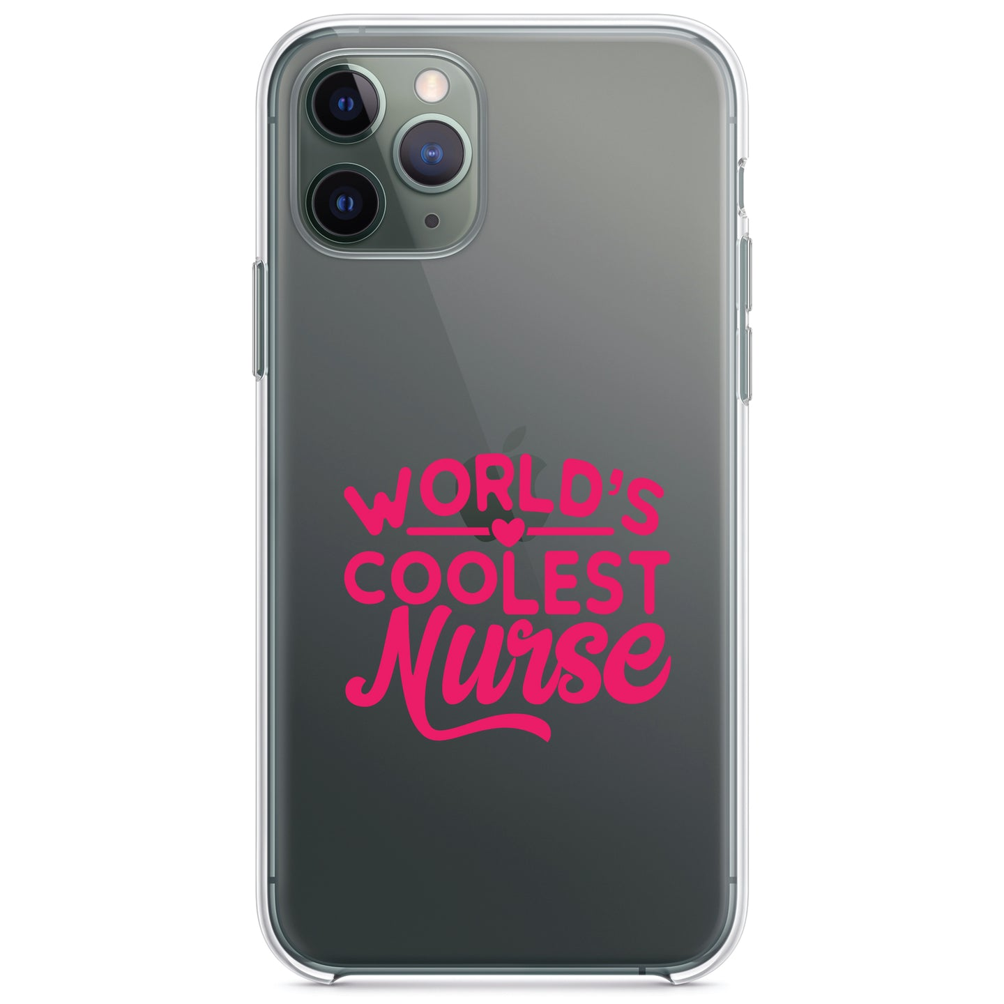 DistinctInk® Clear Shockproof Hybrid Case for Apple iPhone / Samsung Galaxy / Google Pixel - World's Coolest Nurse - Hot Pink