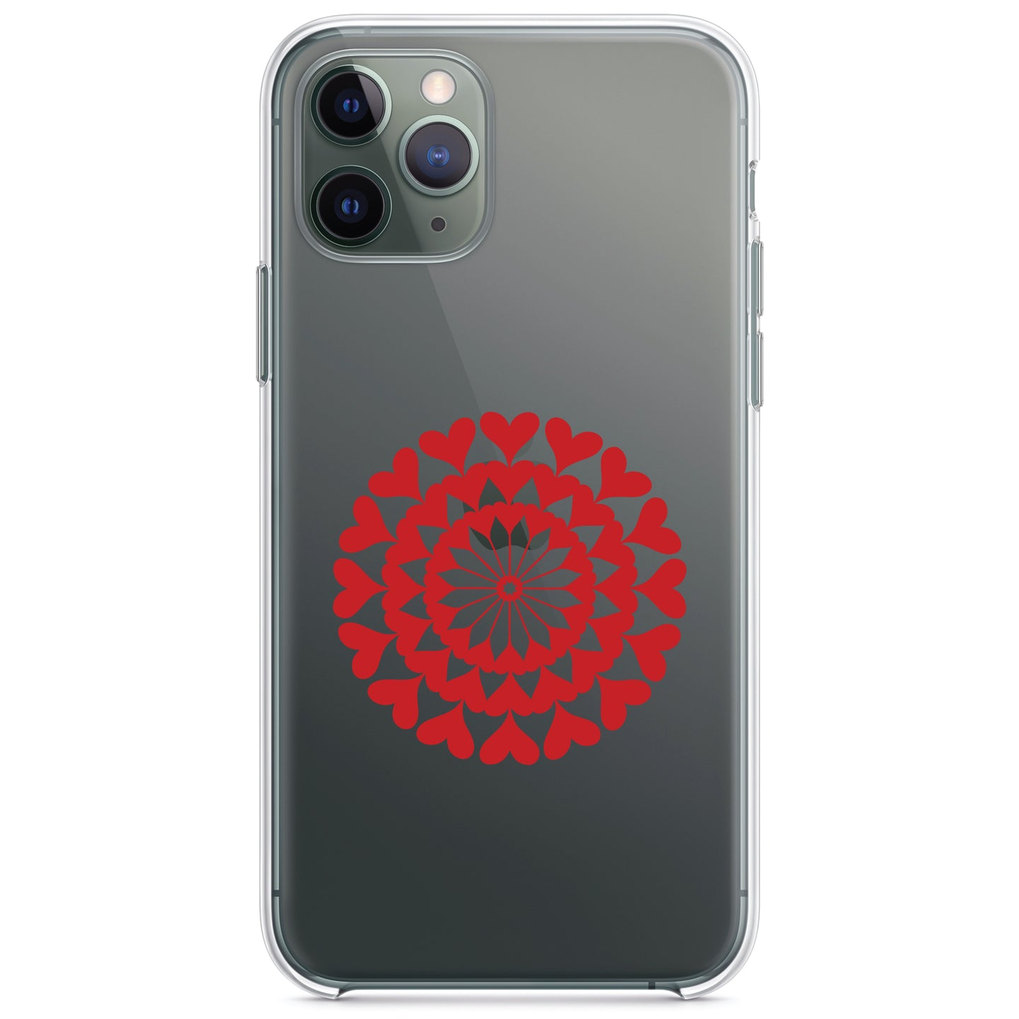 DistinctInk® Clear Shockproof Hybrid Case for Apple iPhone / Samsung Galaxy / Google Pixel - Red Hearts Mandala
