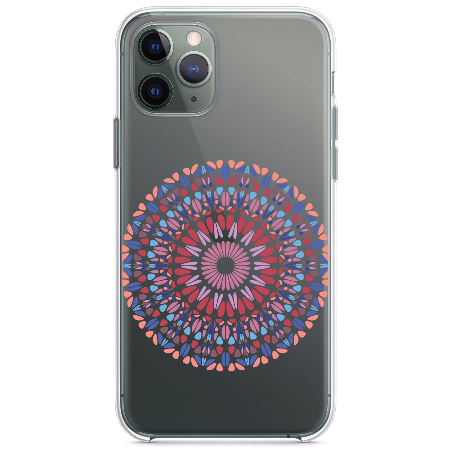 DistinctInk® Clear Shockproof Hybrid Case for Apple iPhone / Samsung Galaxy / Google Pixel - Modern Mandala - Blue Red Pink