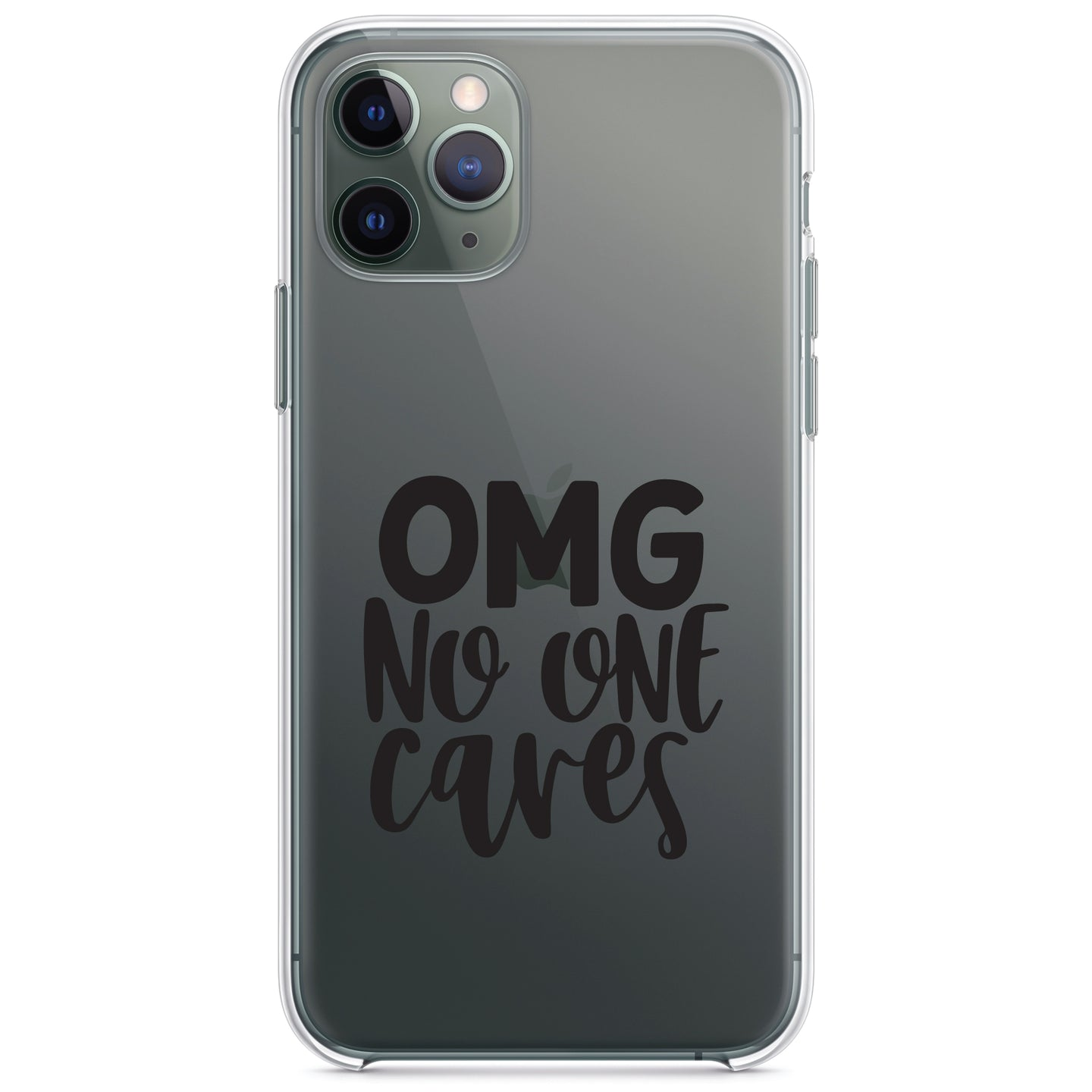 DistinctInk® Clear Shockproof Hybrid Case for Apple iPhone / Samsung Galaxy / Google Pixel - OMG No One Cares - Black