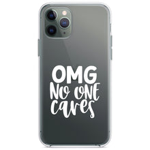 DistinctInk® Clear Shockproof Hybrid Case for Apple iPhone / Samsung Galaxy / Google Pixel - OMG No One Cares - White