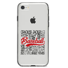 DistinctInk® Clear Shockproof Hybrid Case for Apple iPhone / Samsung Galaxy / Google Pixel - Baseball Word Art - Black & Red