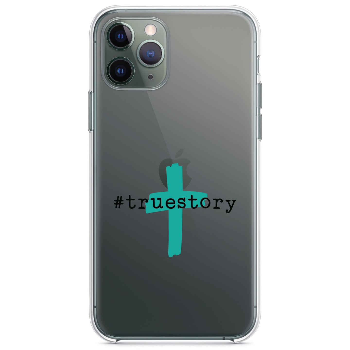 DistinctInk® Clear Shockproof Hybrid Case for Apple iPhone / Samsung Galaxy / Google Pixel - #truestory - Cross - Christian - Teal