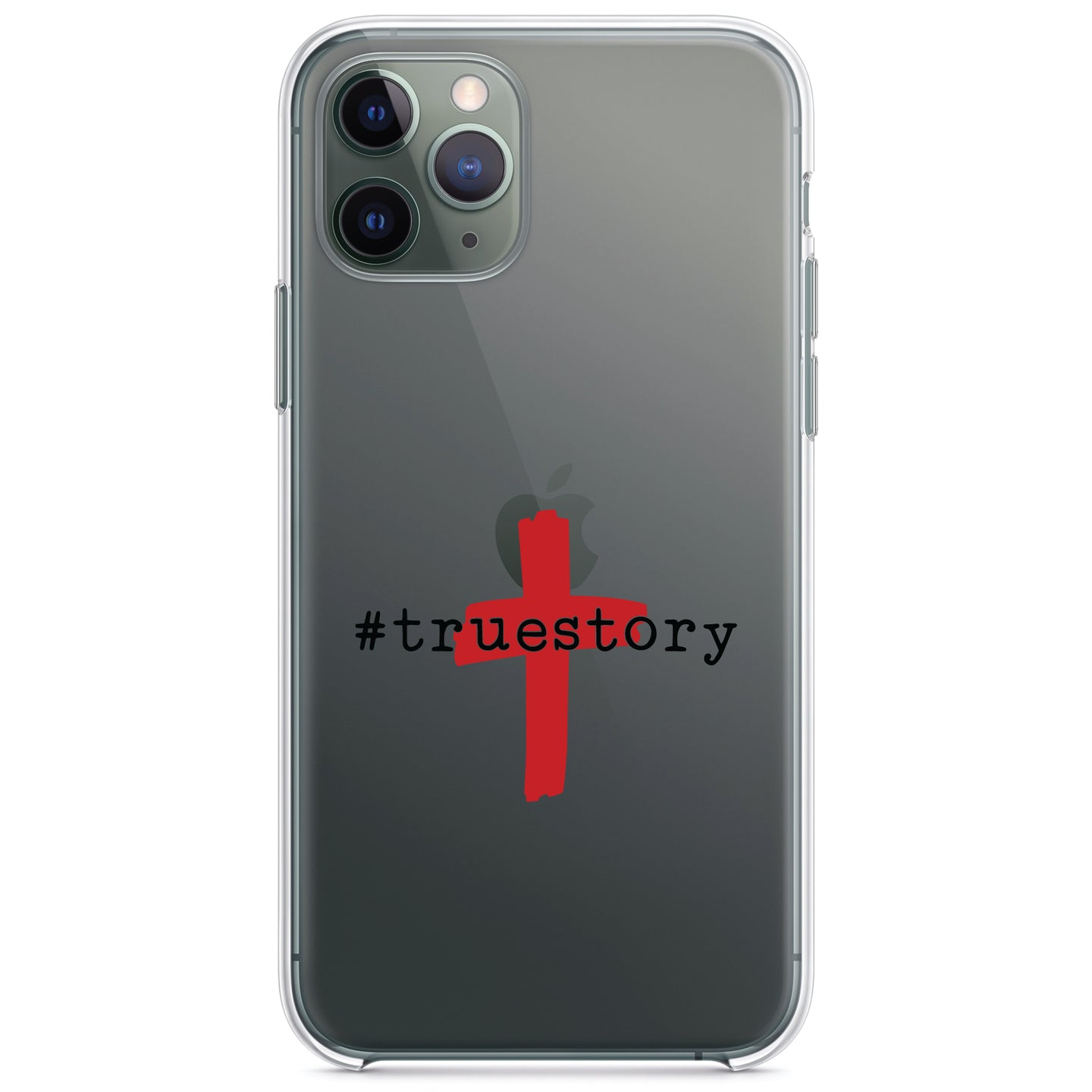 DistinctInk® Clear Shockproof Hybrid Case for Apple iPhone / Samsung Galaxy / Google Pixel - #truestory - Cross - Christian - Red