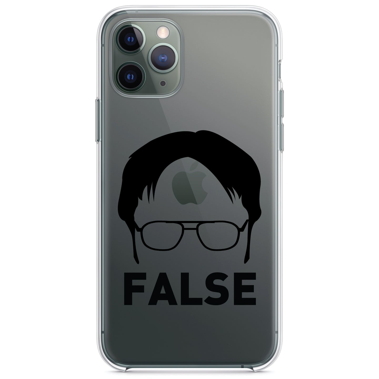 DistinctInk® Clear Shockproof Hybrid Case for Apple iPhone / Samsung Galaxy / Google Pixel - Dwight Silhouette - FALSE