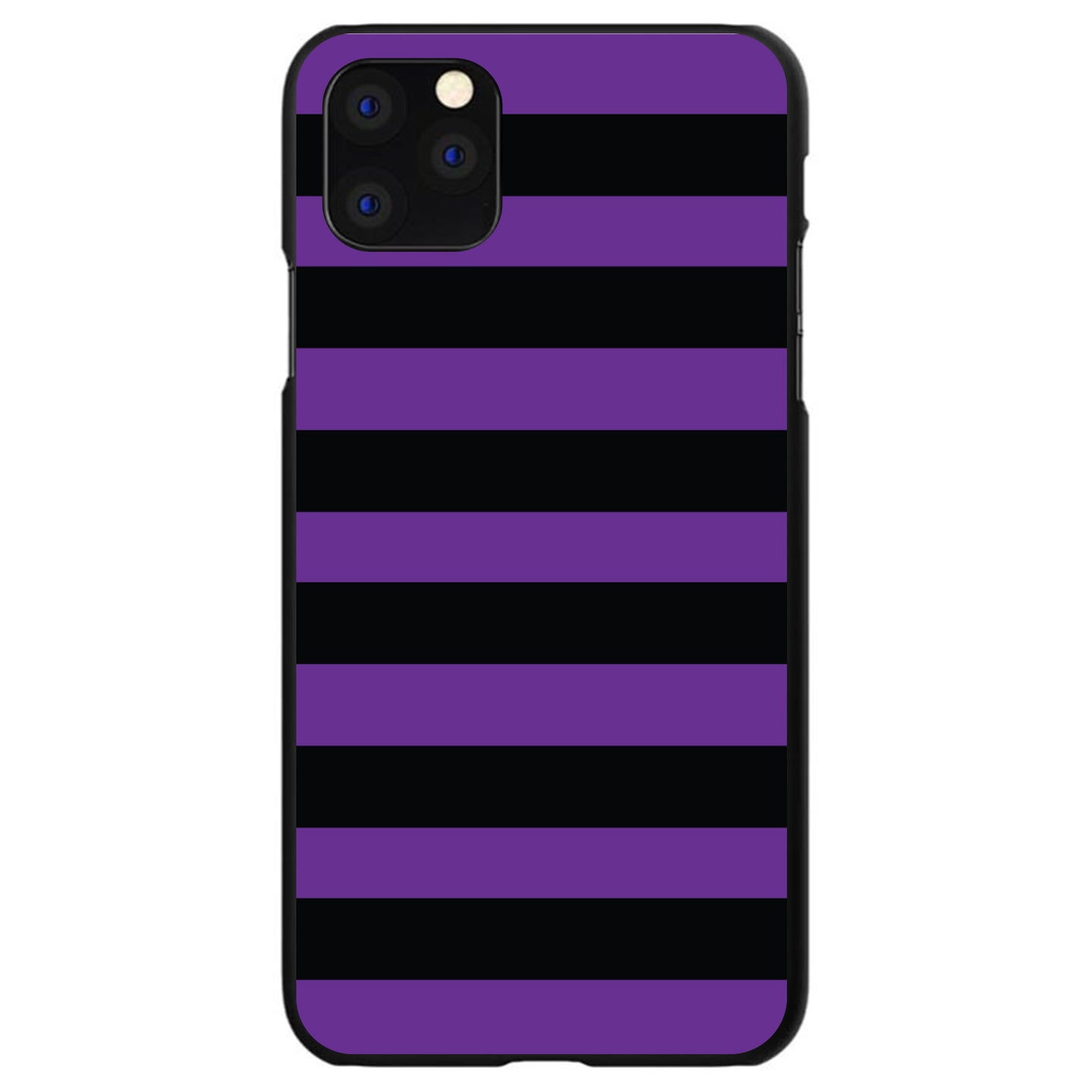 DistinctInk® Hard Plastic Snap-On Case for Apple iPhone - Black & Purple Bold Stripes