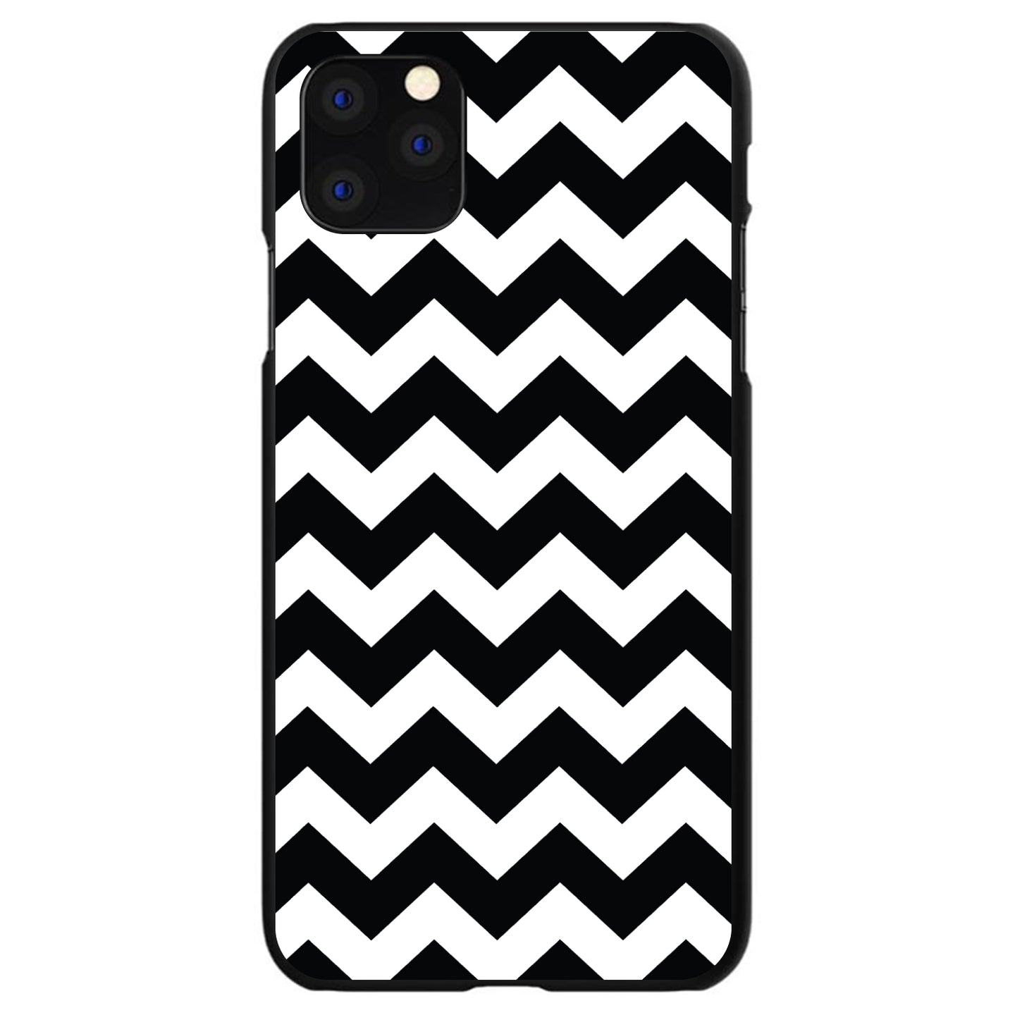 DistinctInk® Hard Plastic Snap-On Case for Apple iPhone - Black & White Chevron Stripes