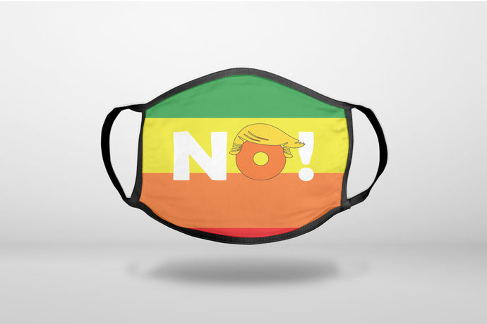 NO - Rainbow Anti Trump - 3-Ply Reusable Soft Face Mask Covering, Unisex, Cotton Inner Layer