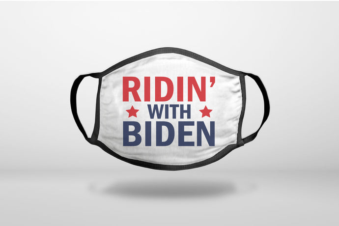 Red White & Blue - Riden' with Biden- 3-Ply Reusable Soft Face Mask Covering, Unisex, Cotton Inner Layer