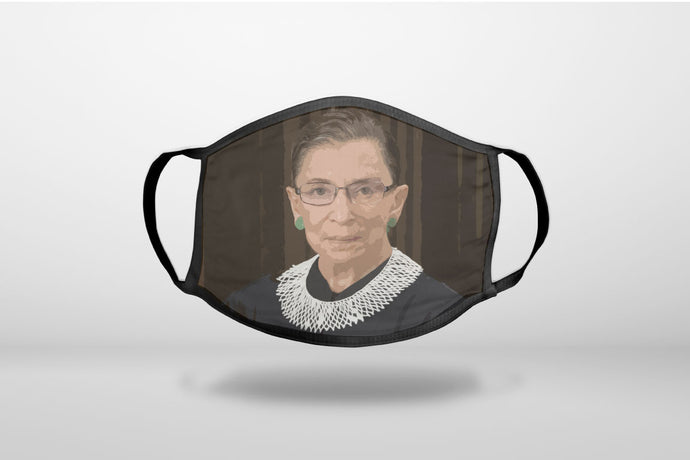 Ruth Bader Ginsburg Cartoon - RIP RBG - 3-Ply Reusable Soft Face Mask Covering, Unisex, Cotton Inner Layer