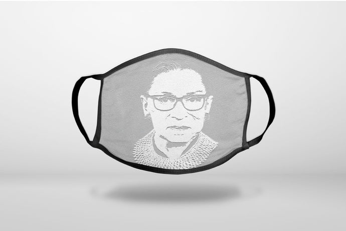Ruth Bader Ginsburg Cartoon Black & White - RIP RBG. - 3-Ply Reusable Soft Face Mask Covering, Unisex, Cotton Inner Layer