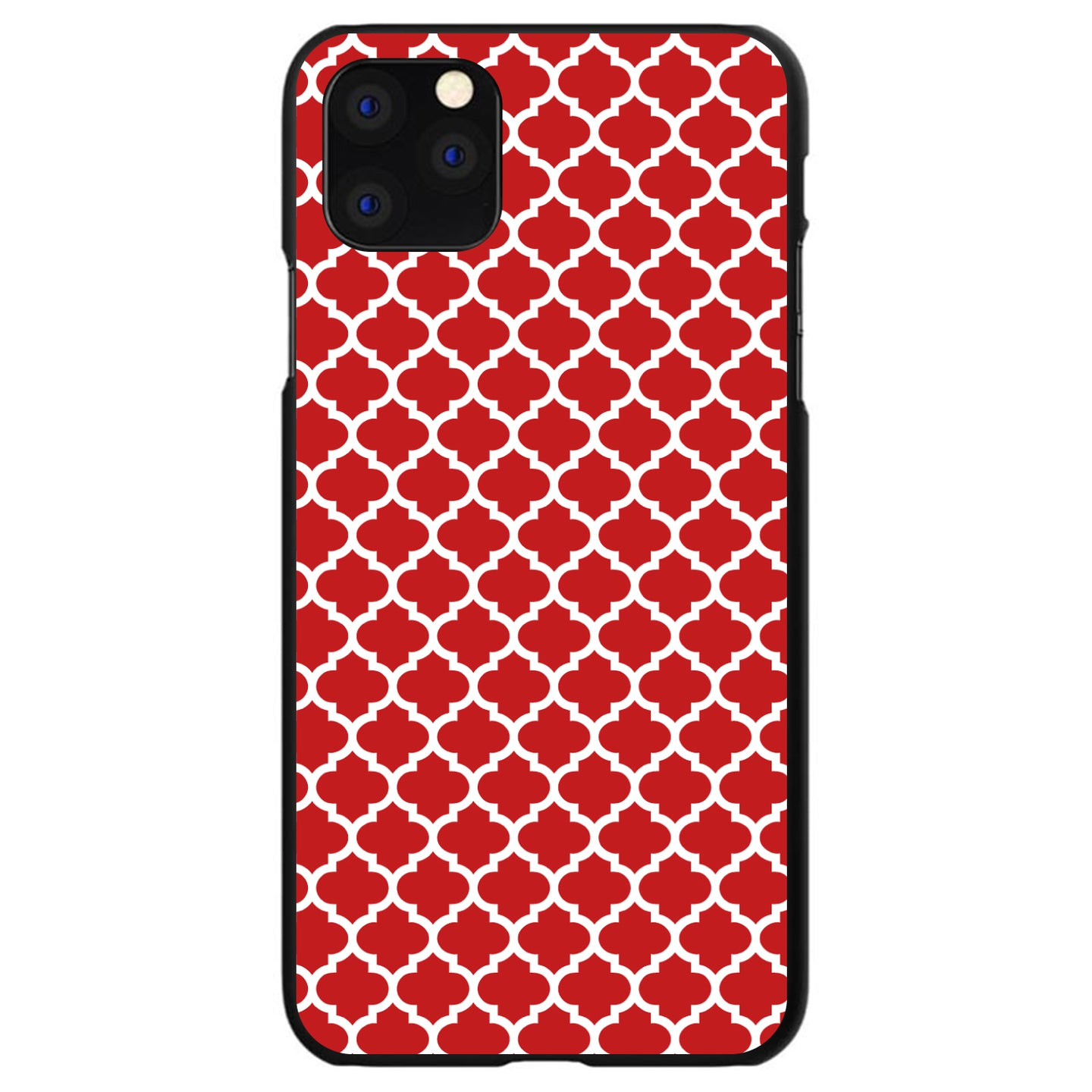DistinctInk® Hard Plastic Snap-On Case for Apple iPhone - Red White Moroccan Lattice
