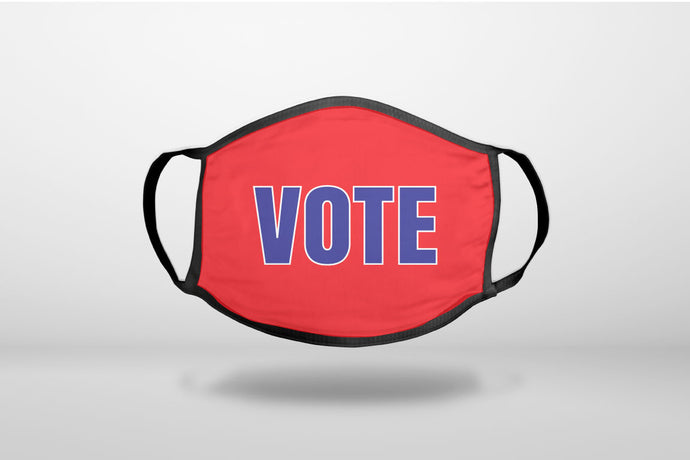 VOTE - Red White & Blue - RIP RBG - 3-Ply Reusable Soft Face Mask Covering, Unisex, Cotton Inner Layer