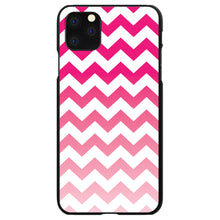 DistinctInk® Hard Plastic Snap-On Case for Apple iPhone - White Pink Fade Chevron Stripes