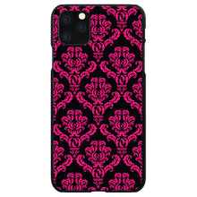 DistinctInk® Hard Plastic Snap-On Case for Apple iPhone - Black Hot Pink Damask Pattern