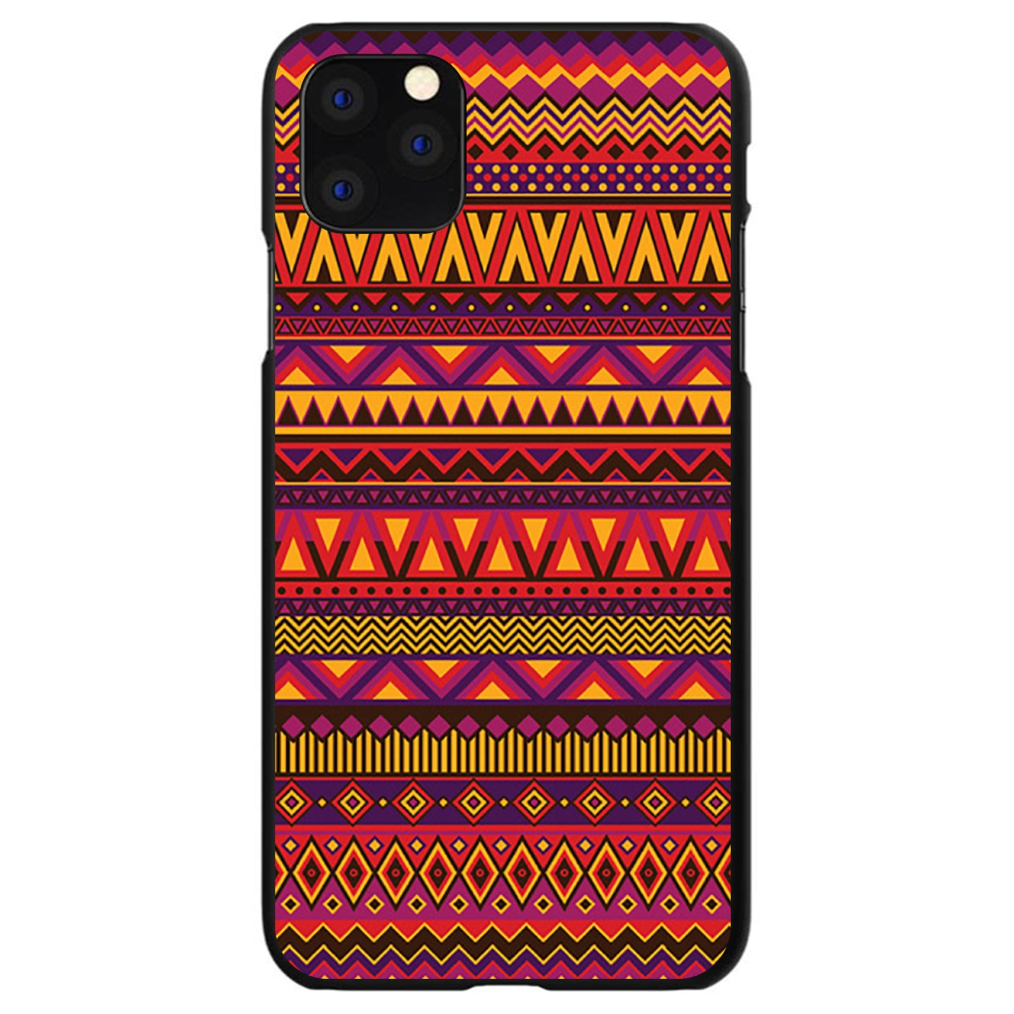 DistinctInk® Hard Plastic Snap-On Case for Apple iPhone - Purple Red Yellow Tribal Print
