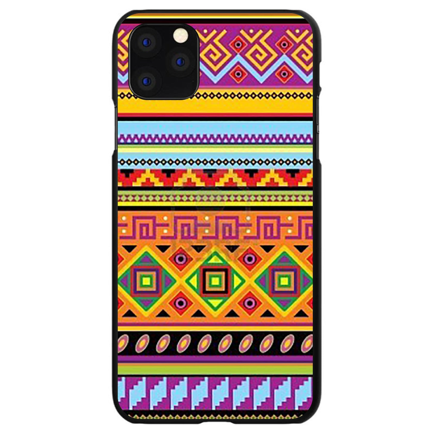 DistinctInk® Hard Plastic Snap-On Case for Apple iPhone - Blue Orange Purple Tribal Print