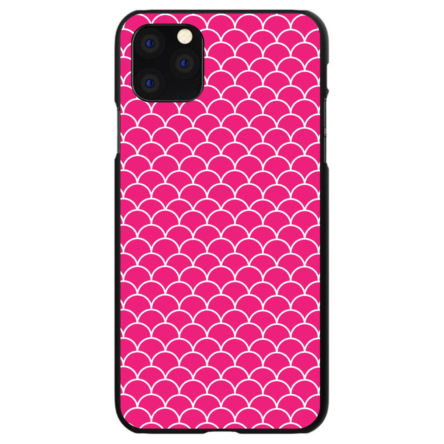 DistinctInk® Hard Plastic Snap-On Case for Apple iPhone - Hot Pink White Scalloped Pattern