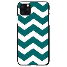 DistinctInk® Hard Plastic Snap-On Case for Apple iPhone - Teal White Chevron Stripes