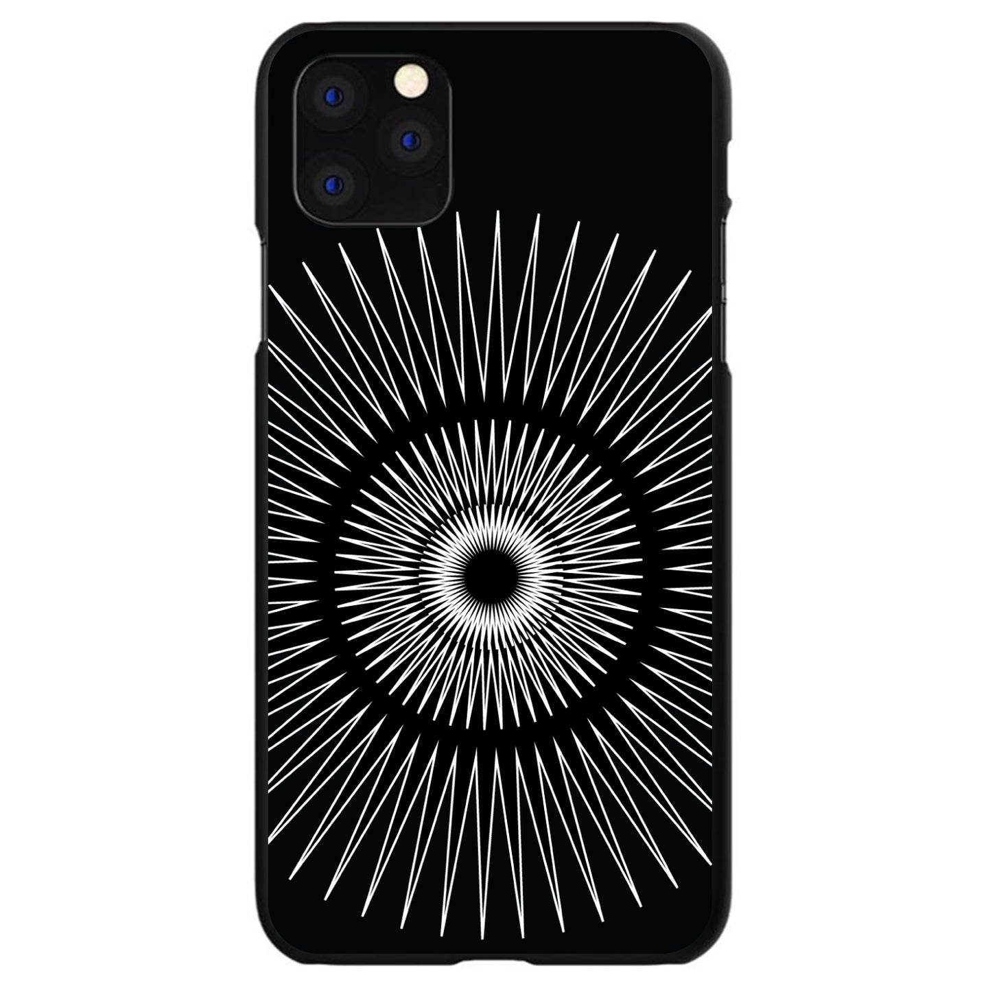 DistinctInk® Hard Plastic Snap-On Case for Apple iPhone - Black White Star Bursts