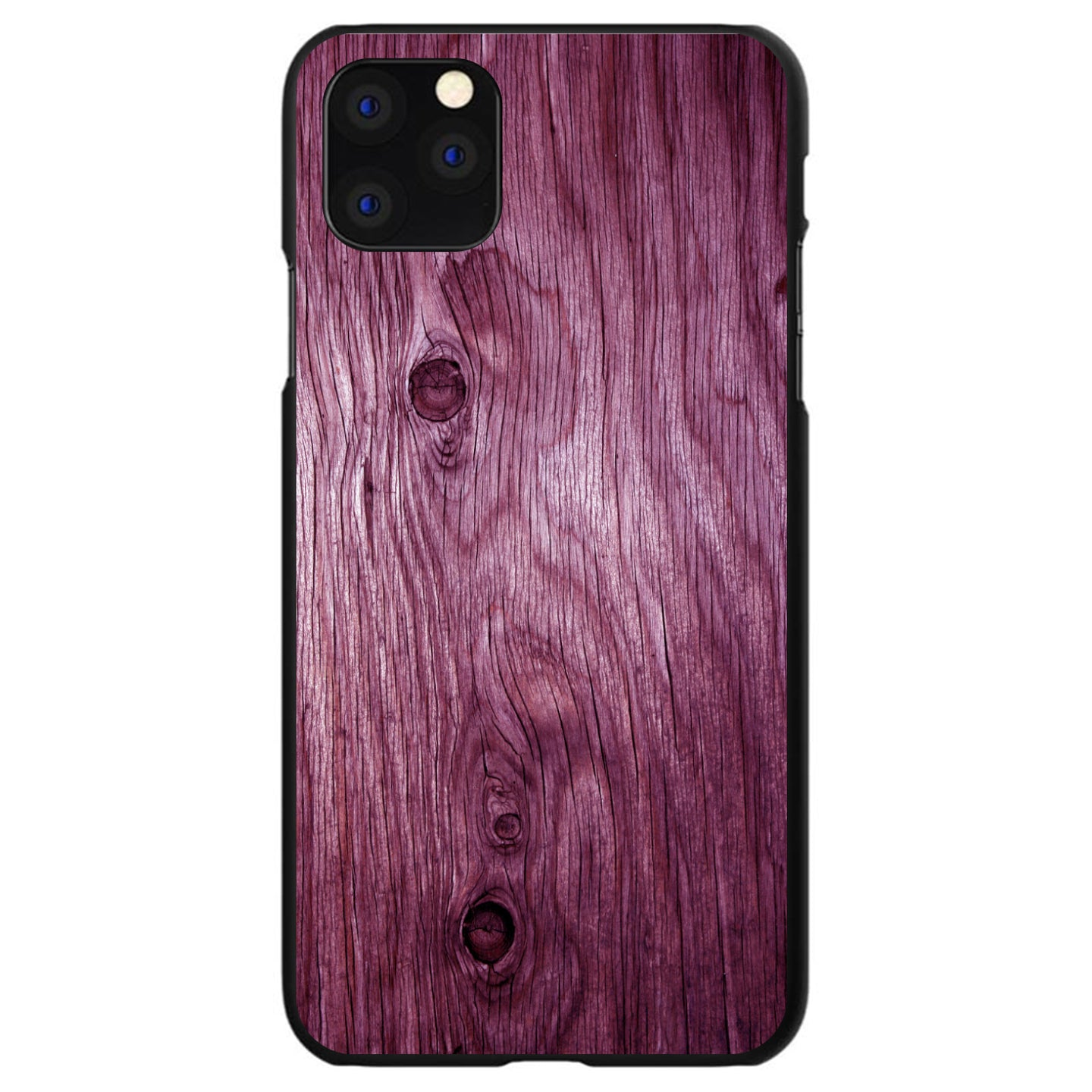 DistinctInk® Hard Plastic Snap-On Case for Apple iPhone - Fuchsia Weathered Wood Grain Print