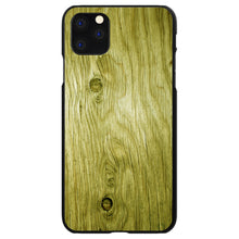 DistinctInk® Hard Plastic Snap-On Case for Apple iPhone - Yellow Weathered Wood Grain Print