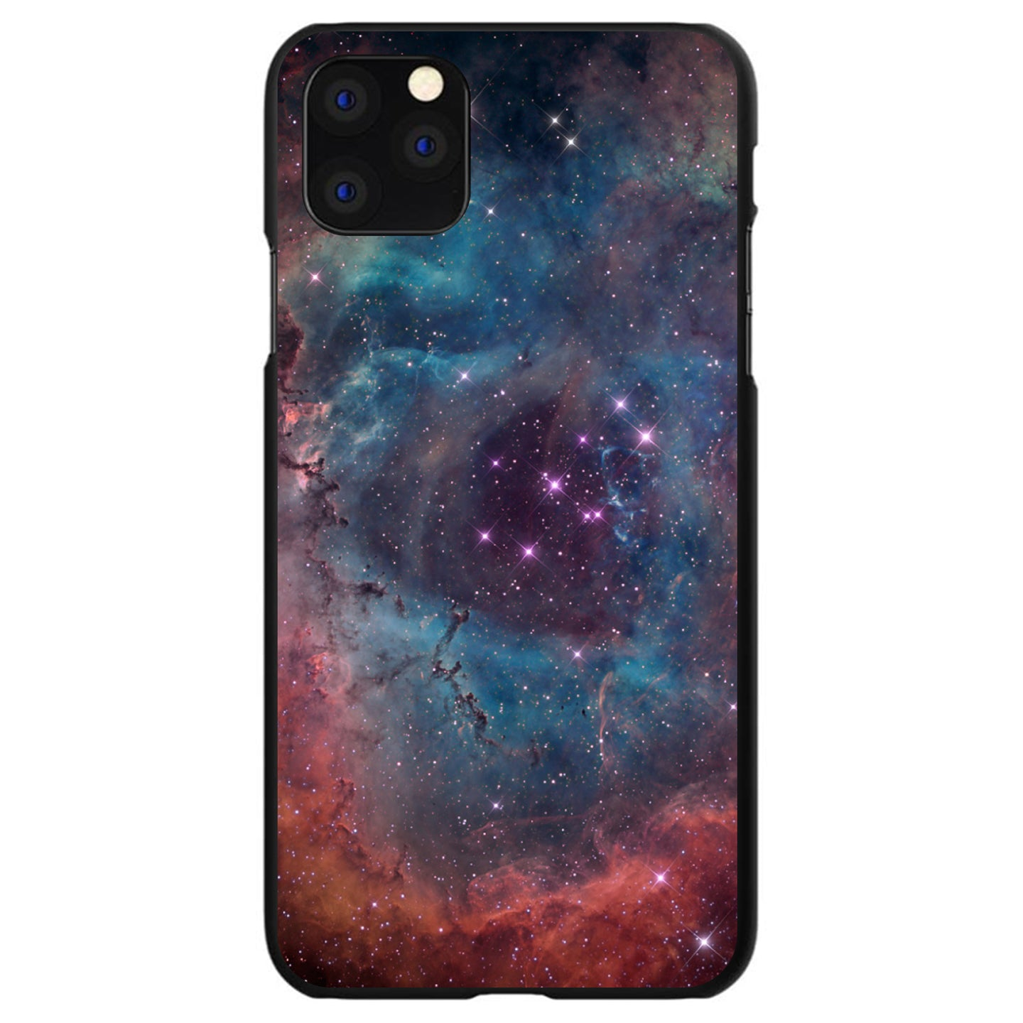 DistinctInk® Hard Plastic Snap-On Case for Apple iPhone - Purple Blue Pink Rosette Nebula