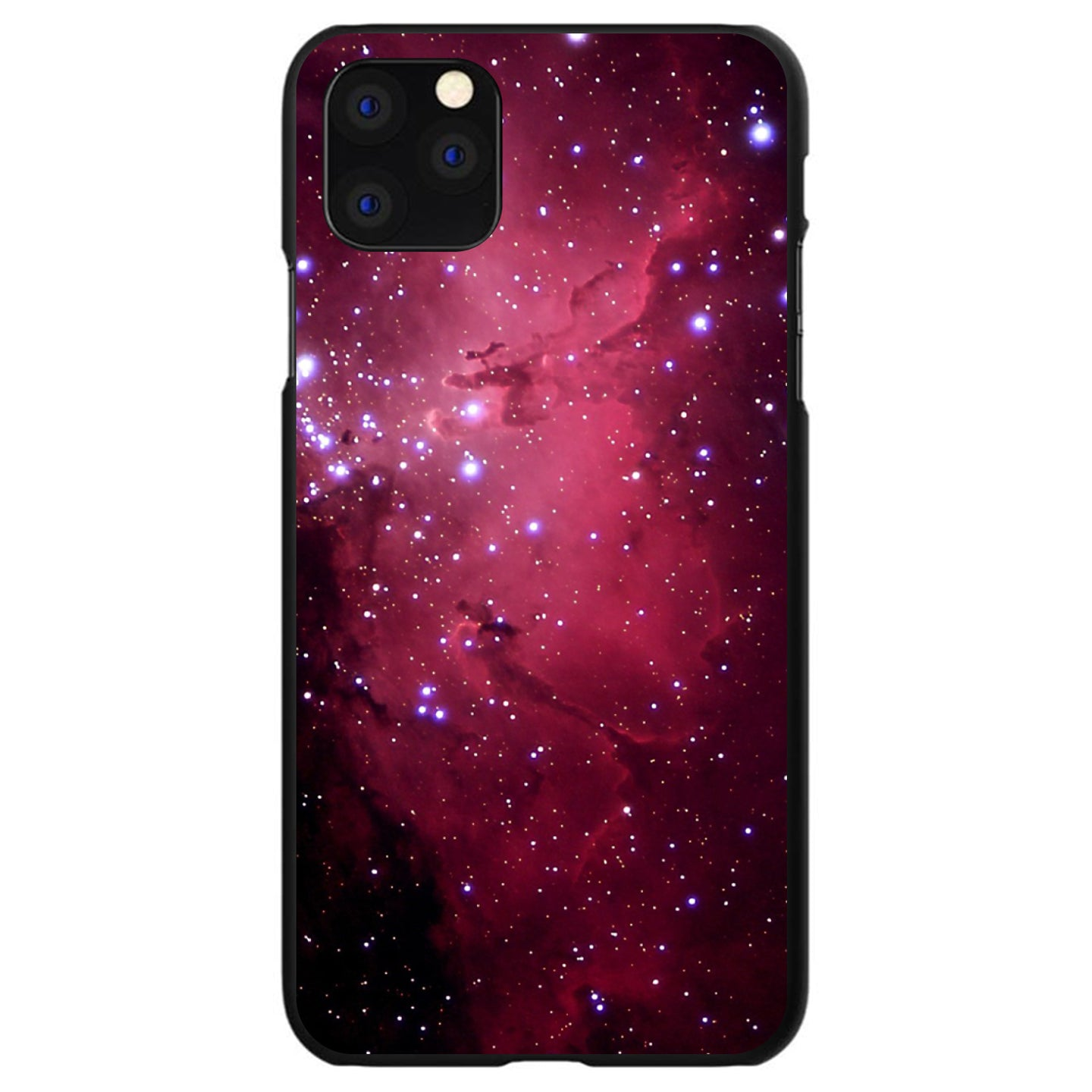 DistinctInk® Hard Plastic Snap-On Case for Apple iPhone - Hot Pink Black Stars Nebula