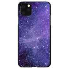 DistinctInk® Hard Plastic Snap-On Case for Apple iPhone - Purple Black White Stars Nebula