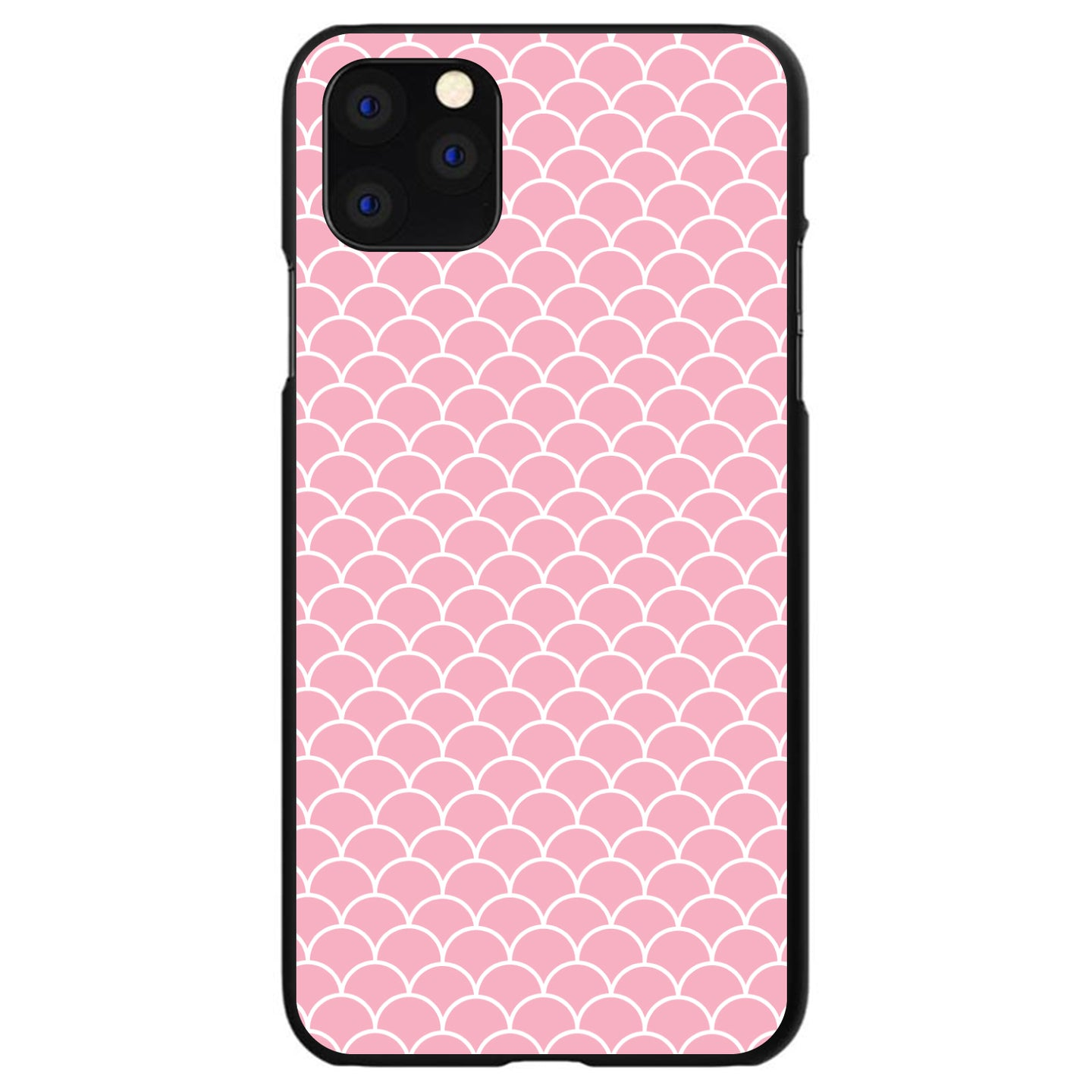 DistinctInk® Hard Plastic Snap-On Case for Apple iPhone - Light Pink Scalloped Pattern