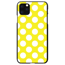 DistinctInk® Hard Plastic Snap-On Case for Apple iPhone - White & Yellow Polka Dots