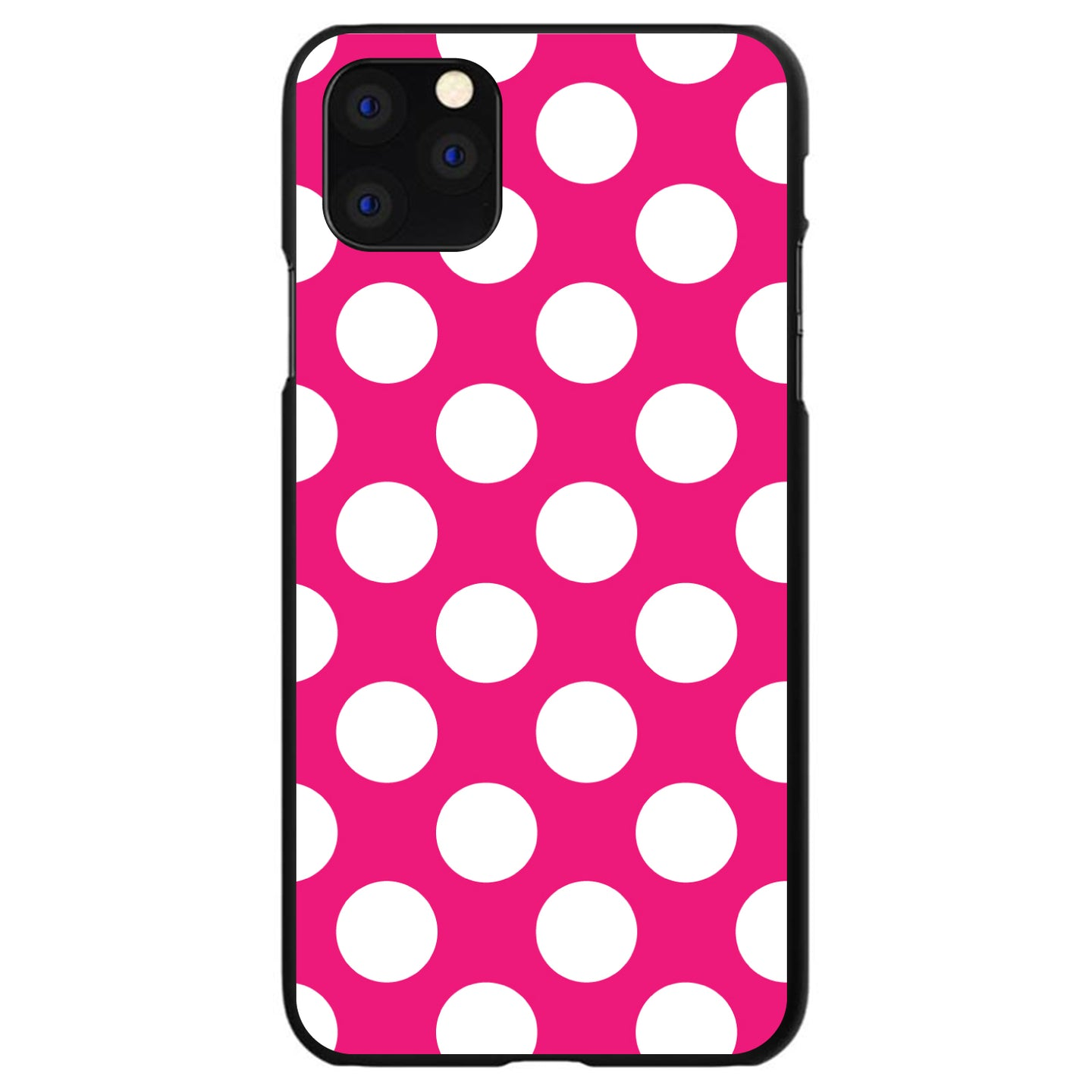 DistinctInk® Hard Plastic Snap-On Case for Apple iPhone - White & Hot Pink Polka Dots