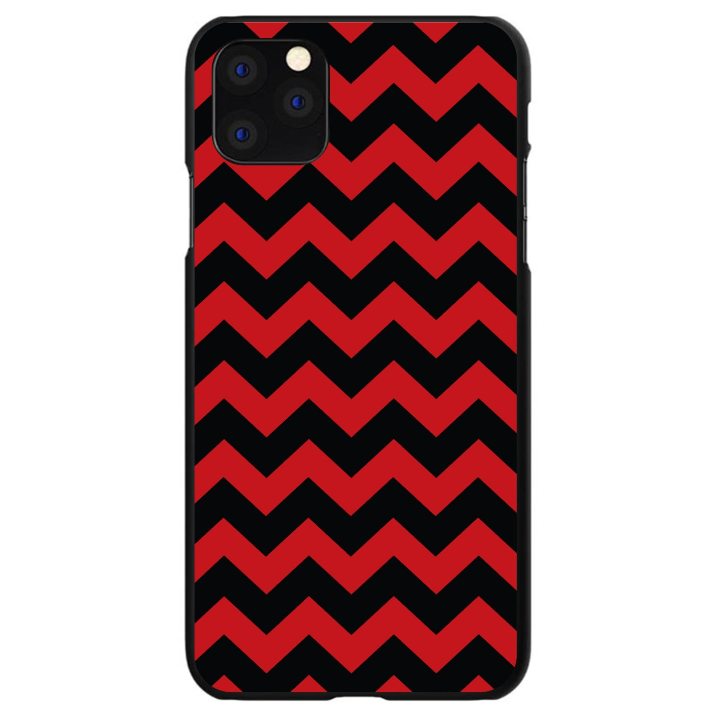 DistinctInk® Hard Plastic Snap-On Case for Apple iPhone - Black Red Chevron Stripes