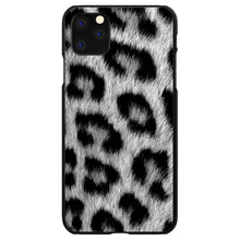 DistinctInk® Hard Plastic Snap-On Case for Apple iPhone - Black White Snow Leopard Fur