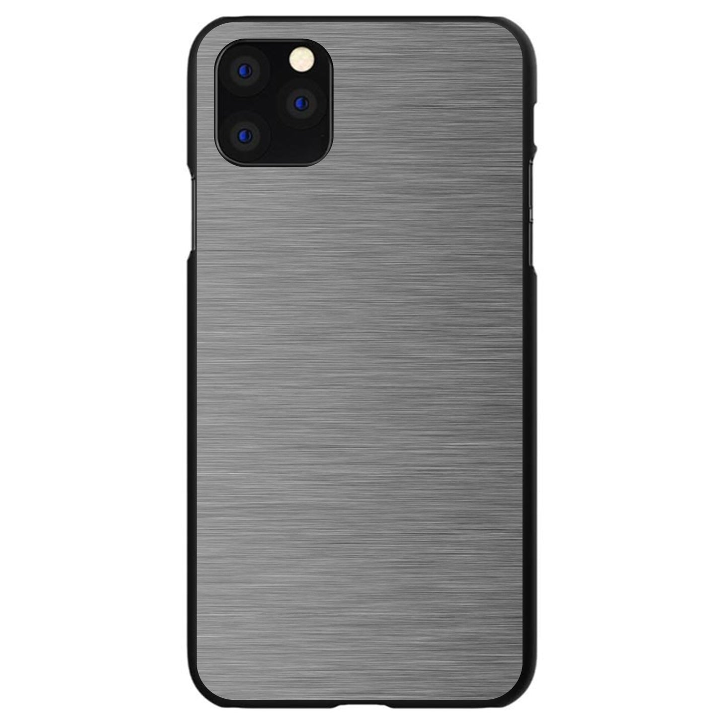 DistinctInk® Hard Plastic Snap-On Case for Apple iPhone - Grey Silver Stainless Steel Print Print