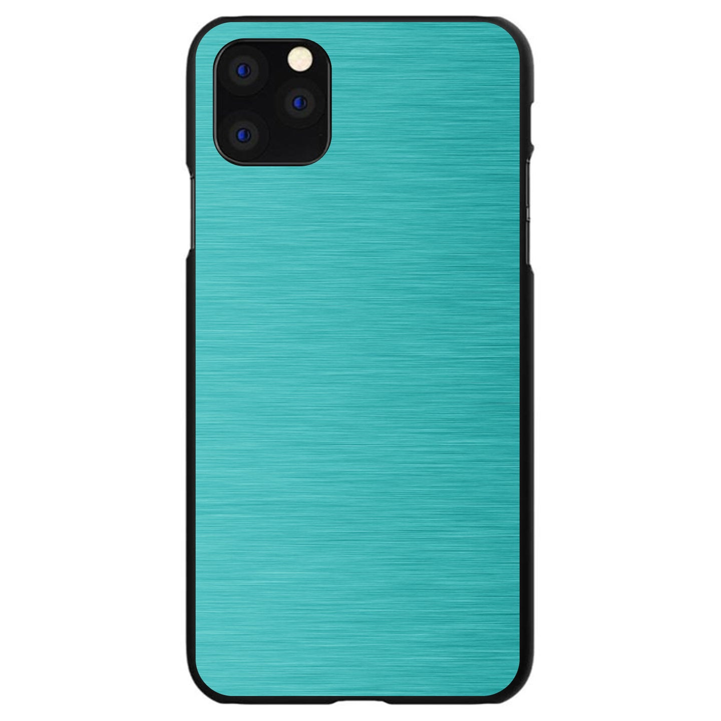 DistinctInk® Hard Plastic Snap-On Case for Apple iPhone - Teal Stainless Steel Print