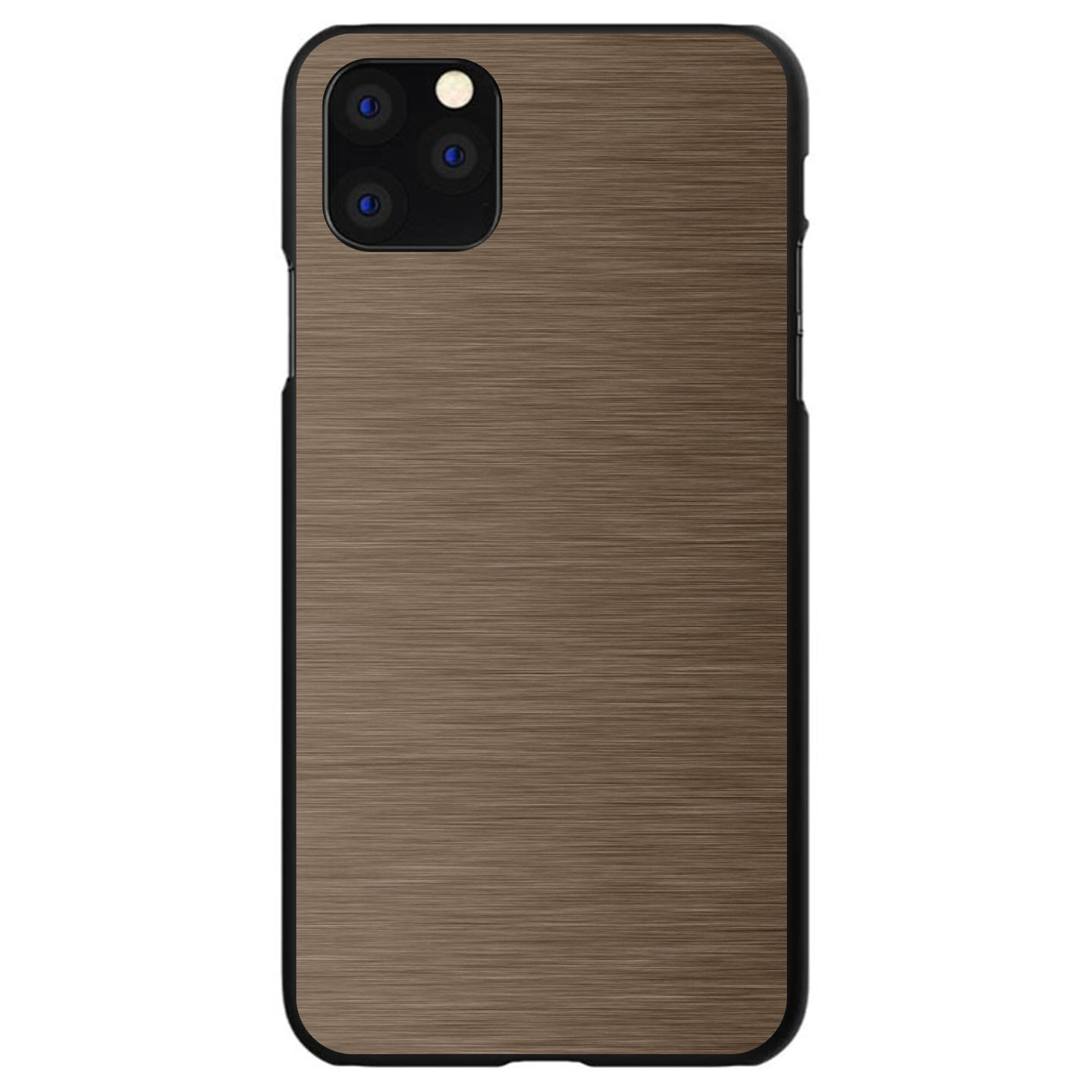 DistinctInk® Hard Plastic Snap-On Case for Apple iPhone - Brown Stainless Steel Print