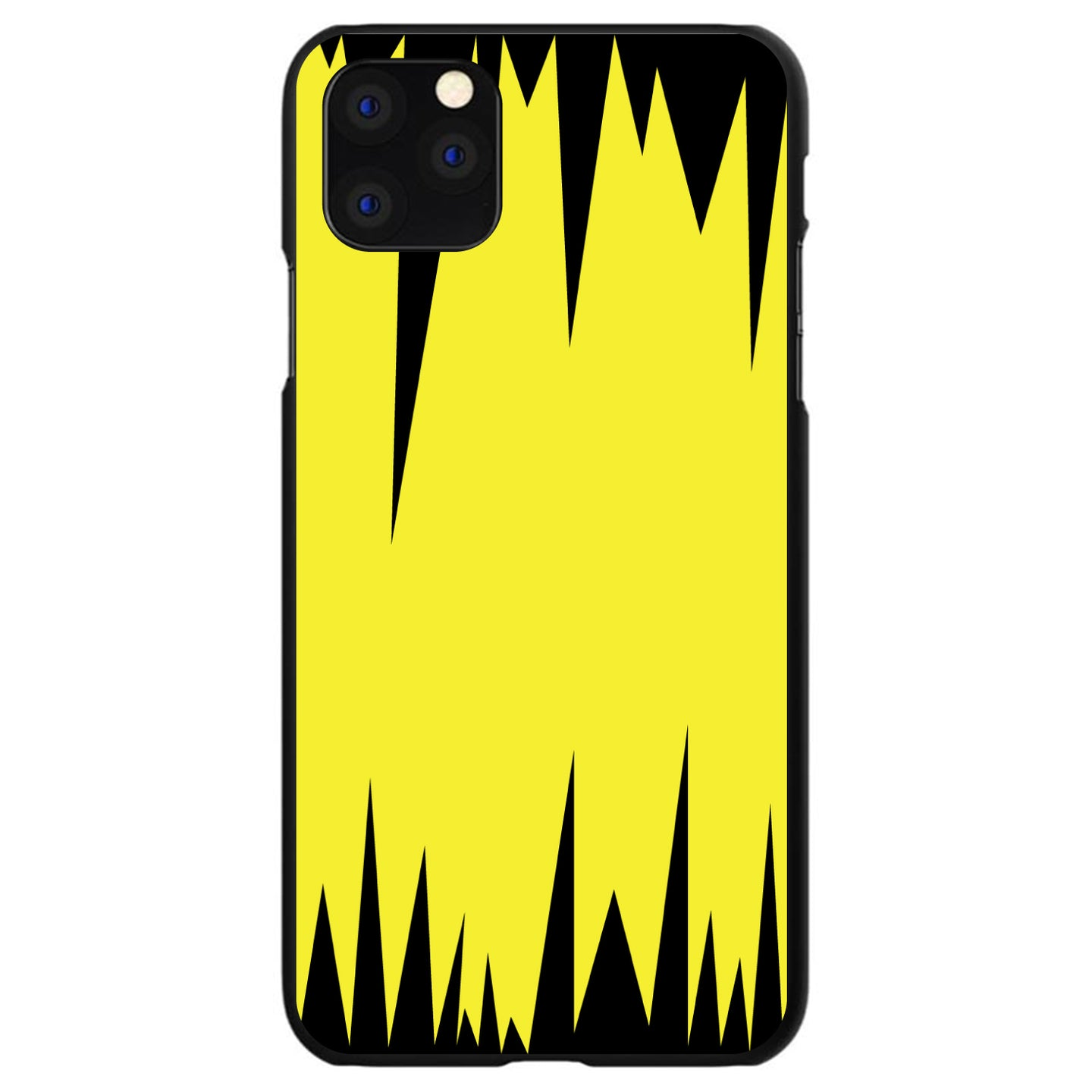 DistinctInk® Hard Plastic Snap-On Case for Apple iPhone - Yellow Black Spikes
