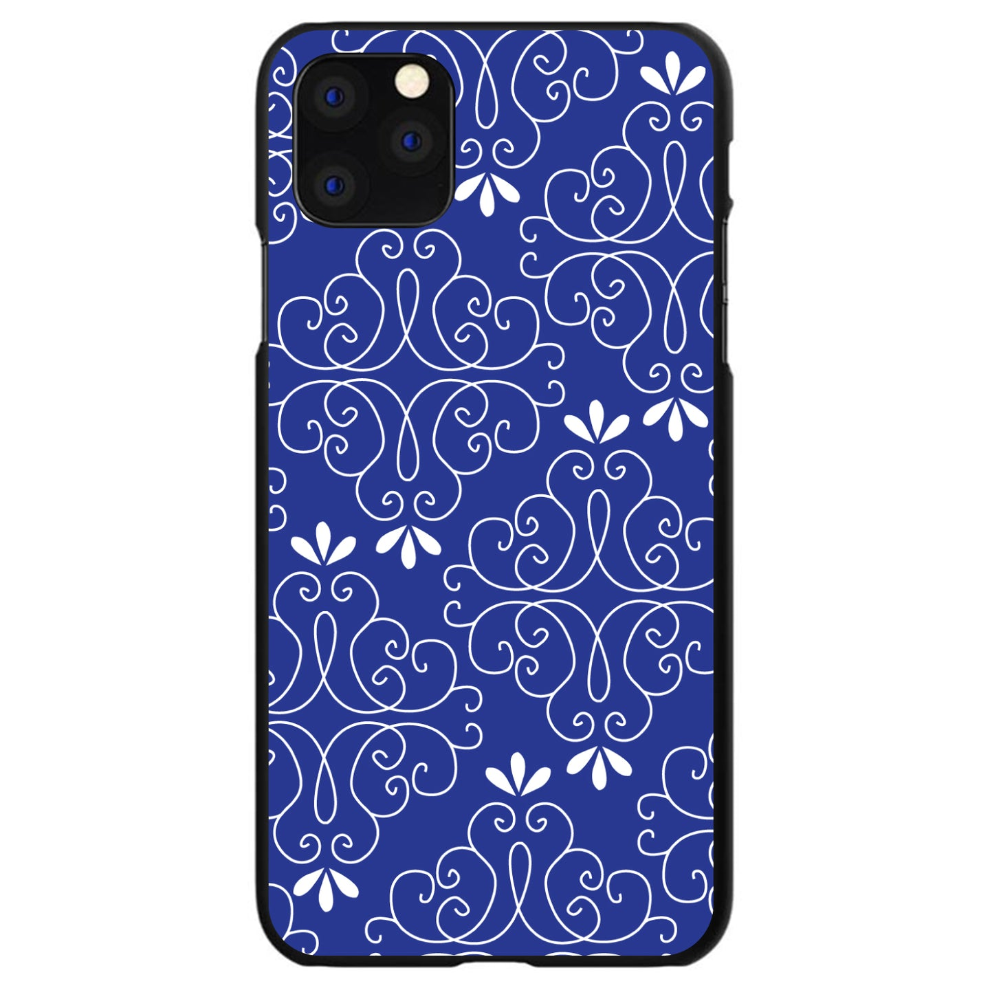 DistinctInk® Hard Plastic Snap-On Case for Apple iPhone - Dark Blue White Floral