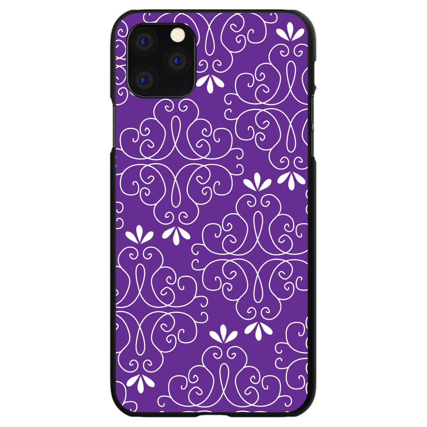 DistinctInk® Hard Plastic Snap-On Case for Apple iPhone - Purple White Floral