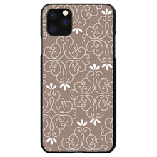 DistinctInk® Hard Plastic Snap-On Case for Apple iPhone - Tan White Floral