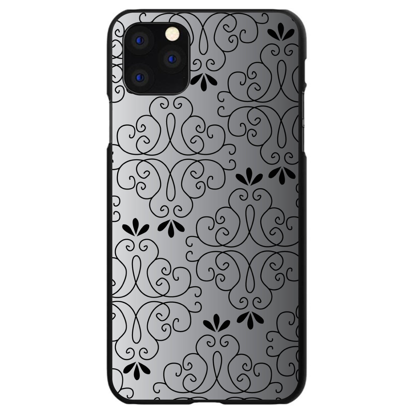 DistinctInk® Hard Plastic Snap-On Case for Apple iPhone - Black White Fade Black Floral Pattern