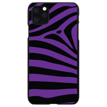 DistinctInk® Hard Plastic Snap-On Case for Apple iPhone - Black Purple Zebra Skin Stripes