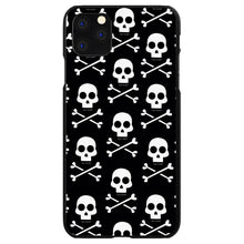 DistinctInk® Hard Plastic Snap-On Case for Apple iPhone - Black White Skulls Pattern